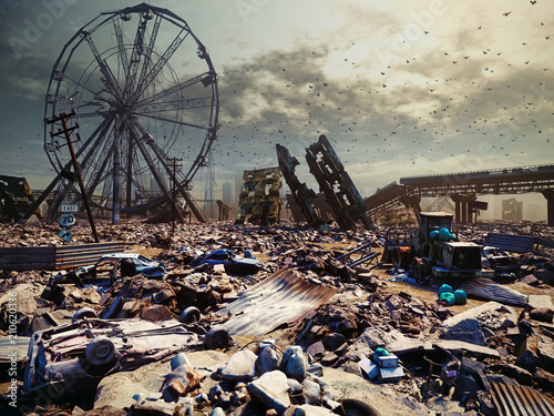Poster Apocalypse city landscape.
