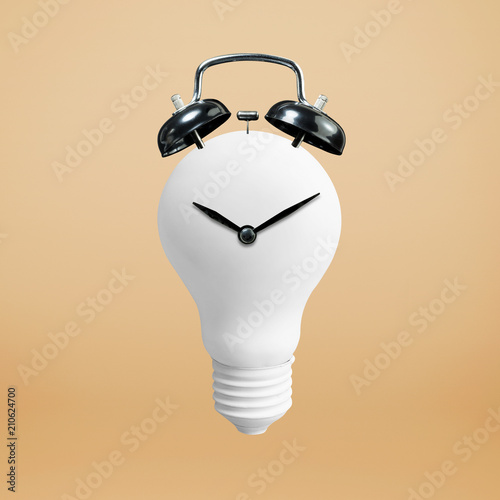 Creativity concepts with white lightbulb and clock.business solution