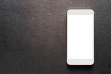 white mobile smartphone on luxury black background, top view. - 210625948