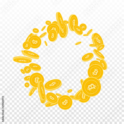 Bitcoin, internet currency coins falling. Scattered floating BTC coins on transparent background. Flawless round frame vector illustration. Jackpot or success concept.