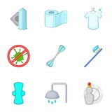 Purity things icons set. Cartoon set of 9 purity things vector icons for web isolated on white background - 210627790