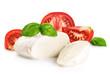 Mozzarella tomatoes and basil isolated on white background.