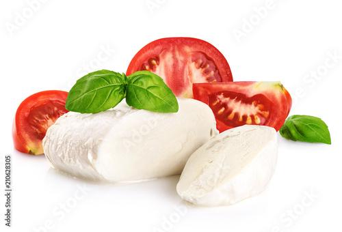 Mozzarella tomatoes and basil isolated on white background. - 210628305