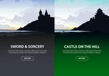 Scenic set of castles in silhouette. Vector illustration.