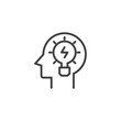 Head with light bulb outline icon. linear style sign for mobile concept and web design. Lamp in head simple line vector icon. Creativity symbol, logo illustration. Pixel perfect vector graphics