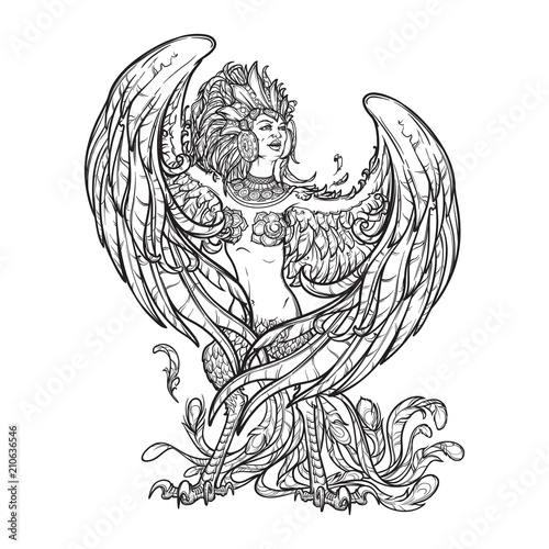 Sirin - half-woman half-bird in Russian myths and fairy tales. Singing and laughing. Intricate linear drawing isolated on white background. Tattoo design. EPS10 vector drawing. © aen_seidhe