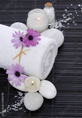 Aluminium Spa Spa setting with candle, rolled towel , Magnolia , salt, stoneson on mat