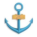 Anchor for marine design. Illustration of a ship's anchor with a rope and ship. Vector graphics to design.