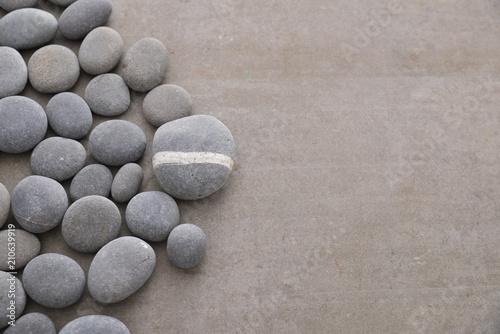 Aluminium Spa gray stones and grey background