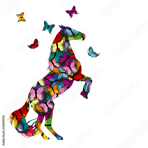 Fototapeta Colorful illustration with patterned horse and butterflies