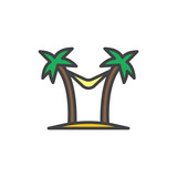 Hammock between palms trees filled outline icon, line vector sign, linear colorful pictogram isolated on white. Beach vacation symbol, logo illustration. Pixel perfect vector graphics - 210641911