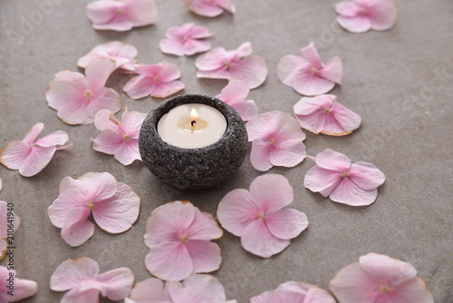 Aluminium Spa Many Pink hydrangea petals with candle in stone bowl on gray background