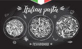 Spaghetti, farfalle, penne pasta with cherry tomatoes and basil. Dish of Italian cuisine. Ink hand drawn set with brush calligraphy lettering. Vector illustration. Top view. Food elements. - 210647340