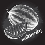 Ink hand drawn Whole Watermelon and Slice. Vector illustration with brush calligraphy style lettering. Elements for design labels, packaging, cards. - 210647547