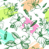 Decorative seamless pattern with ink hand-drawn Tropical hibiscus, magnolia  flowers and leaves. Vector illustration. - 210647773