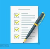 New Checklist flat icon. Document with green ticks checkmarks. Checklist and pen. Application form, complete tasks, to-do list, survey concepts in EPS 10 format Vector sign - 210648198