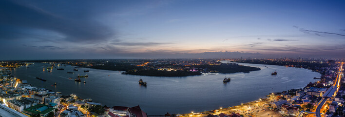 Landscape of River in Bangkok.Aerial view © toptop28