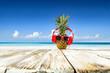 Leinwanddruck Bild - Pineapple on beach and summer time