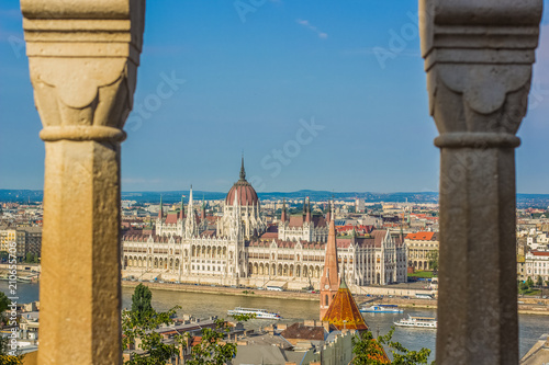 budapest urban city scape waterfront distrcit from above in summer time bright colorful day and blue sky background