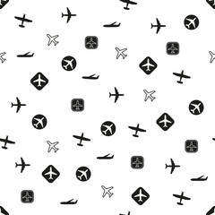 Plane pattern. Seamless airplane background with different types of planes. Vector illustration.