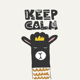 Cute poster with llama, alpaca. Keep calm text lettering. Funny hand drawn illustration for t-shirt print or cover. - 210659146