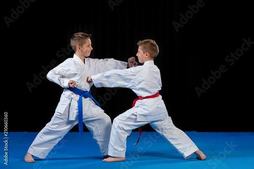 Fototapeta two boys training karate kata exercises at test qualification