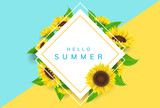 Simple square frame with yellow sunflowers and green leaf. Vector illustration for summer and nature, floral design background
