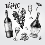 Wine concept set. Bottles, glasses, cork, grape bunch, corkscrew. Ink hand drawn Vector illustration with brush calligraphy style lettering. Drink element for menu design. - 210668776