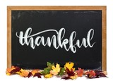 Thankful hand written in white calligraphy lettering chalk on a black chalkboard with fall leaves isolated on white - 210673146