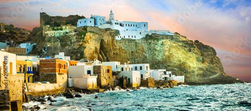 Plexiglas Freesurf beautiful Greek islands - Nisyros (Dodecanese) sunset over Mandraki village with monastery