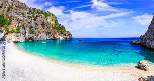 Plexiglas Freesurf Amazing cristal clear sea of Karpathos island. Beautiful Kyra panagia beach. Greece
