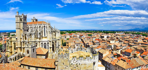 Plexiglas Freesurf Narbonne , panoramic view with Cathedral of Saint-Just. south France
