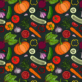Vegetable Seamless Pattern with Cucumbers, Red Tomatoes, Bell Pepper, Beet, Carrot, Onion, Garlic, Chilli, Pumpkine. FoodHand Drawn Illustration. Doodle Style. Black Board Background and Chalk