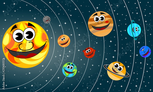 Fototapeta Happy cartoon planets of Solar System orbit the Sun in the space