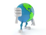 World globe character with thumb down