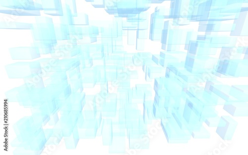 Blue and white abstract digital and technology background. The pattern with repeating rectangles. 3D illustration - 210685994