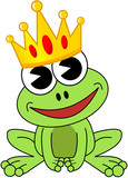 Smiling cartoon frog with crown isolated - 210692389