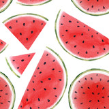 Watercolor watermelon seamless pattern - 210692762