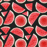 Watercolor watermelon seamless pattern - 210692919