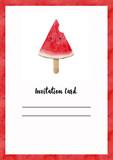 Watercolor watermelon card - 210692960