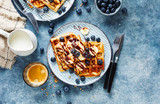 Delicious homemade waffles with banana