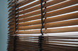 wood blind shade curtain and shadow tree background