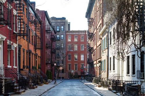 Historic block of buildings on Gay Street in Greenwich Village neighborhood of Manhattan in New York City