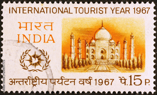Foto Murales Taj Mahal on indian postage stamp