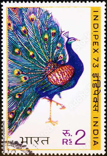 Foto Murales Beautiful peacock on indian postage stamp