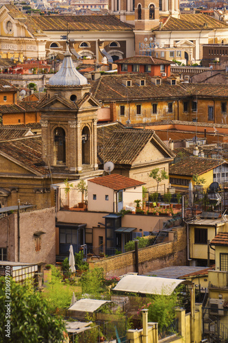 Rome city views with ancient buildings