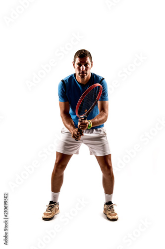 Fotobehang Tennis Tennis player isolated on white background
