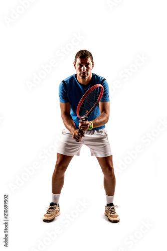 Aluminium Tennis Tennis player isolated on white background