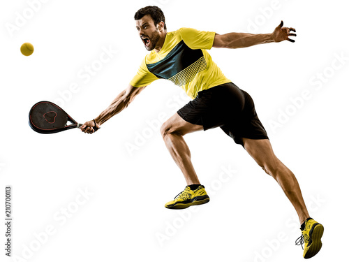 Aluminium Tennis one caucasian man playing Padel tennis player isolated on white background