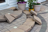 DIY construction replacing patio steps bricks - 210707351